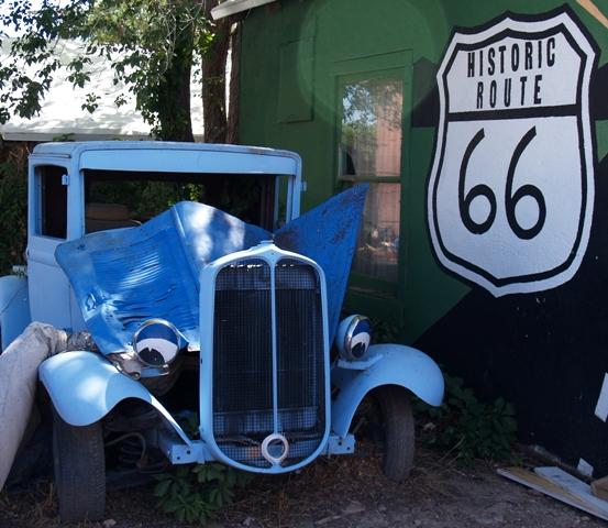 Blue Car in Seligman Arizona by Sheree Zielke