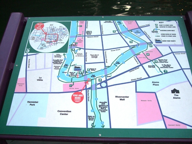 Riverwalk Map in San Antonio, Texas
