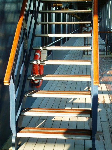 Cruise Ship Stairway in Sunlight by Sheree Zielke